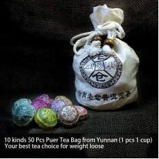 50 Pcs Lao Cang Mini Tuo Cha Puer Tea Assortment
